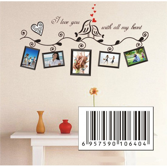 Love with All My Heart Wall Quotes & Photo Frame